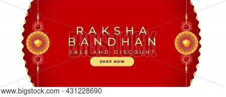 Raksha Bandhan Sale And Discount Banner With Rakhi Design
