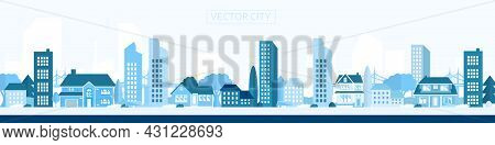 Vector Poster With The City In Blue. Modern City With Trees, Buildings And A Bridge. City Landscape