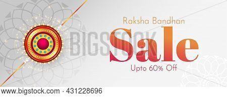 Raksha Bandhan Festival Sale Banner With Decorative Rakhi