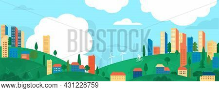 Vector Poster Overlooking The Valley With Houses And Skyscrapers. Suburban Houses With Trees And Win