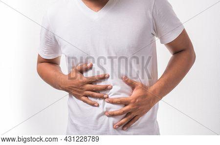 Young Man Having A Stomachache Healthcare Concept.