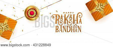 Happy Raksha Bandhan Festival Banner With Gift Boxes And Rakhi Design