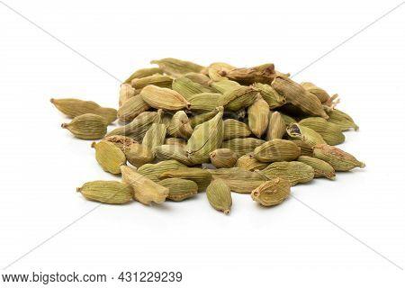 Pile Of Green Cardamom, Cardamon Or Cardamum (dried Fruits Of Elettaria Cardamomum).