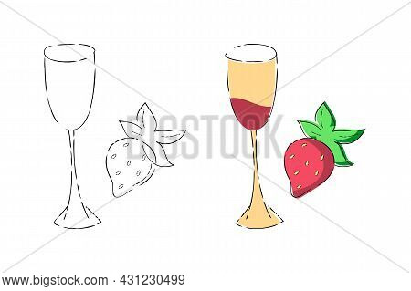 Champagne Glass, Strawberry Icons Set. Hand Drawn Dashed Ink Brush Stroke Line, Cute Flat Cartoon St