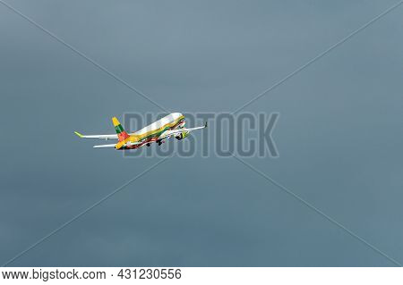 Riga, Latvia - August 19, 2021: Airbaltic Airbus A220-300 Yl-csk Aircraft In The Colors Of Lithuania