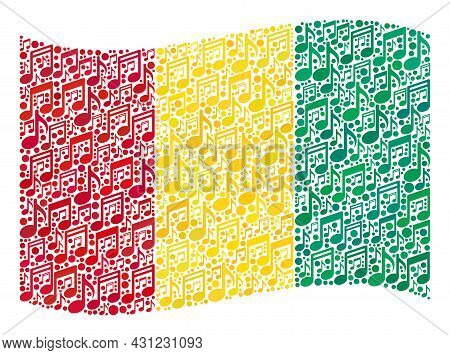 Mosaic Waving Guinea Flag Constructed Of Musical Symbols. Vector Musical Collage Waving Guinea Flag