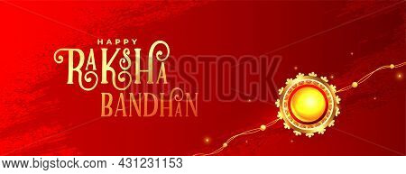 Raksha Bandhan Red Banner With Realistic Rakhi Design