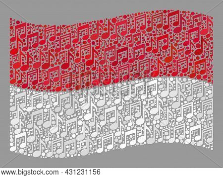 Mosaic Waving Indonesia Flag Designed With Musical Icons. Vector Melody Collage Waving Indonesia Fla