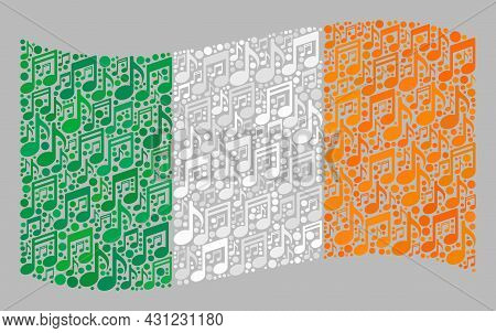 Mosaic Waving Ireland Flag Constructed With Musical Notes. Vector Melody Mosaic Waving Ireland Flag