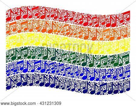Mosaic Waving Lgbt Flag Designed Of Music Symbols. Vector Music Collage Waving Lgbt Flag Constructed