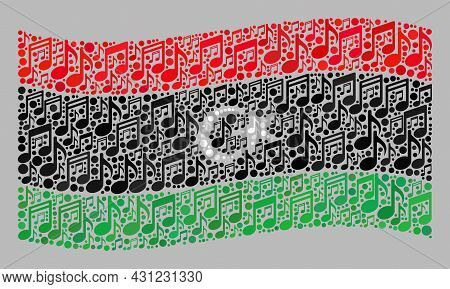Mosaic Waving Libya Flag Designed Of Musical Notation Symbols. Vector Music Collage Waving Libya Fla
