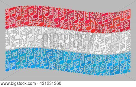 Mosaic Waving Luxembourg Flag Constructed With Musical Icons. Vector Melody Collage Waving Luxembour