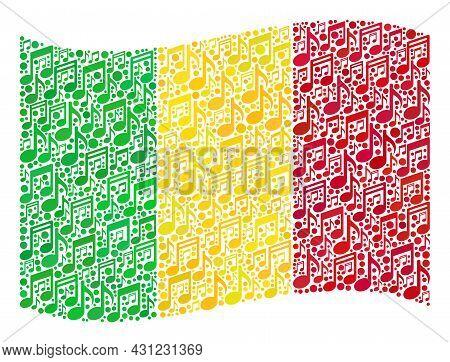 Mosaic Waving Mali Flag Constructed Of Melody Icons. Vector Musical Collage Waving Mali Flag Designe