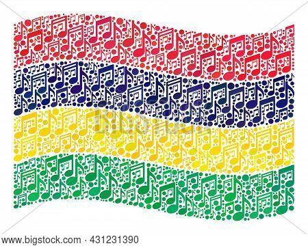 Mosaic Waving Mauritius Flag Constructed Of Melody Symbols. Vector Musical Collage Waving Mauritius