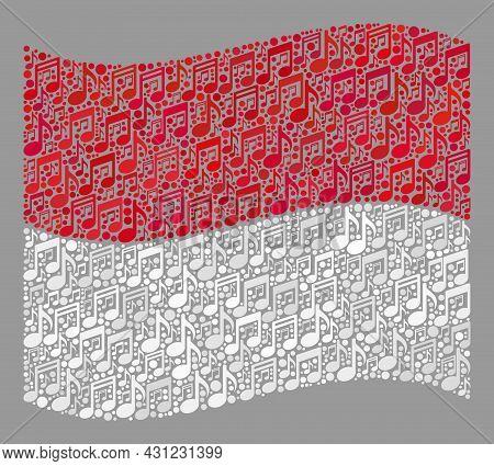 Mosaic Waving Monaco Flag Designed With Musical Notes. Vector Musical Collage Waving Monaco Flag Des
