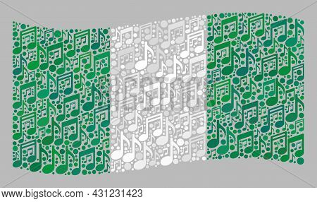 Mosaic Waving Nigeria Flag Designed With Melody Icons. Vector Music Collage Waving Nigeria Flag Desi