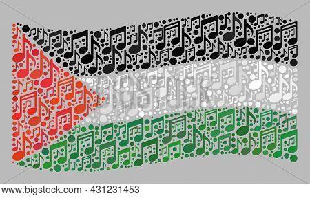 Mosaic Waving Palestine Flag Created With Musical Notes. Vector Musical Mosaic Waving Palestine Flag