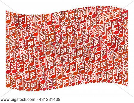 Mosaic Waving Red Flag Designed With Melody Notes. Vector Musical Collage Waving Red Flag Done For M