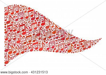 Mosaic Waving Red Triangle Flag Created Of Melody Signs. Vector Musical Mosaic Waving Red Triangle F