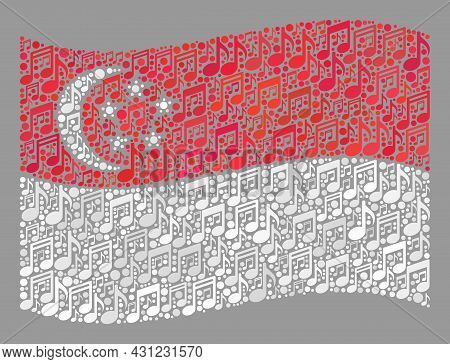 Mosaic Waving Singapore Flag Designed With Musical Icons. Vector Musical Collage Waving Singapore Fl