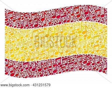 Mosaic Waving Spain Flag Designed Of Music Notes. Vector Musical Mosaic Waving Spain Flag Created Fo