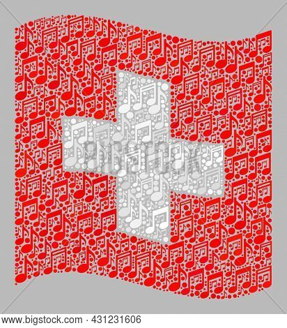 Mosaic Waving Swiss Flag Designed With Melody Signs. Vector Music Collage Waving Swiss Flag Combined