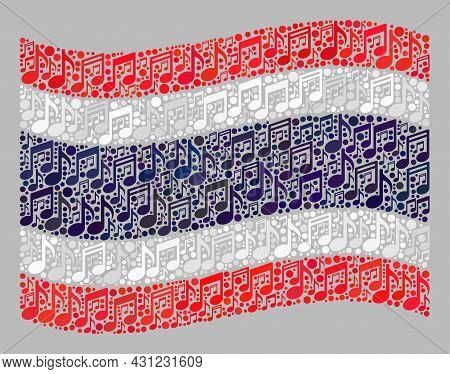Mosaic Waving Thailand Flag Created With Music Signs. Vector Musical Collage Waving Thailand Flag Cr