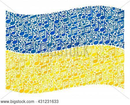 Mosaic Waving Ukraine Flag Designed With Music Symbols. Vector Music Mosaic Waving Ukraine Flag Desi