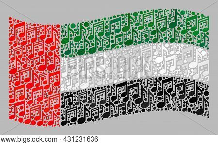 Mosaic Waving United Arab Emirates Flag Created With Music Icons. Vector Music Collage Waving United