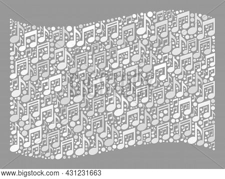 Mosaic Waving White Flag Designed With Melody Symbols. Vector Melody Mosaic Waving White Flag Design