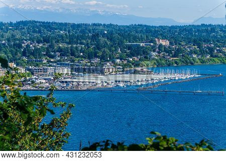 A View Of The Marina In Des Moines, Washington.