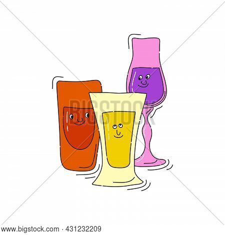 Rum Tequila Liquor Glassware With Smile Face On White Background. Cartoon Sketch. Doodle Style With