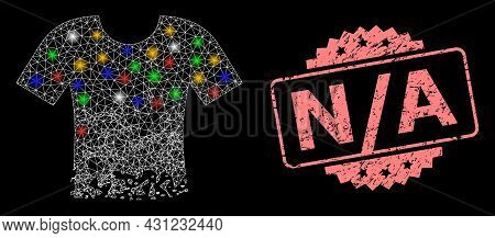 Shiny Mesh Network Ragged T-shirt With Glowing Spots, And N - A Textured Rosette Stamp Seal. Illumin