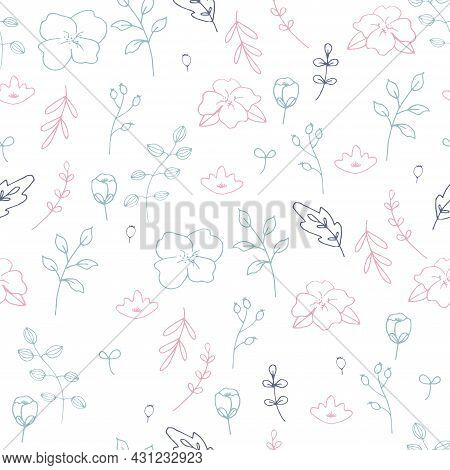 Hand Drawn Flowers, Plants And Leaves, Botanical Seamless Pattern Vector Design For Fashion,fabric A