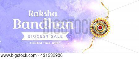 Raksha Bandhan Watercolor Sale Banner With Golden Realistic Rakhi Design