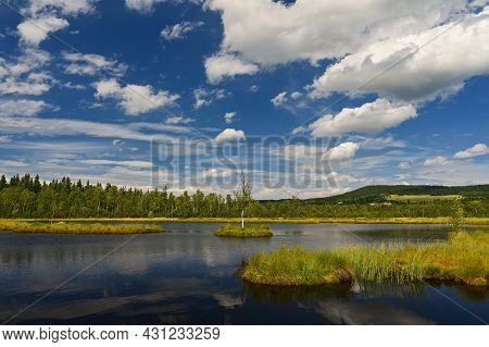 Beautiful Landscape In Nature With Forest, Water And Blue Sky With Clouds. Chalupska Moor - National