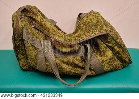 Military Style Bag. Modern Waterproof Traveler  Bag With Shoulder Straps Travel Bag. Bag Spotted Kha