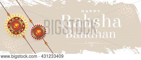 Indian Raksha Bandhan Festival Banner With Grunge Backdrop