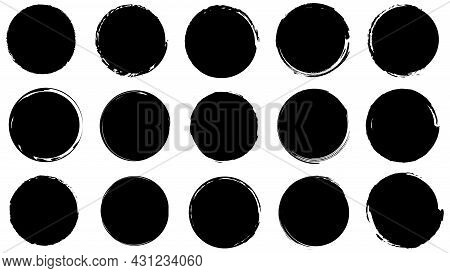 Dirty Frames For Design In Grunge Style. Ink Brush Strokes. Set Of Distress Textures Of Round And Or