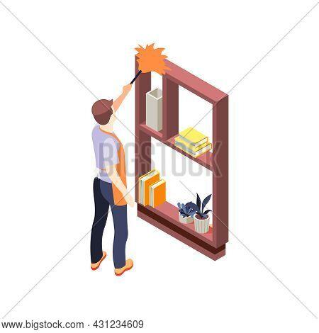 House Husband Dusting Bookcase 3d Isometric Vector Illustration