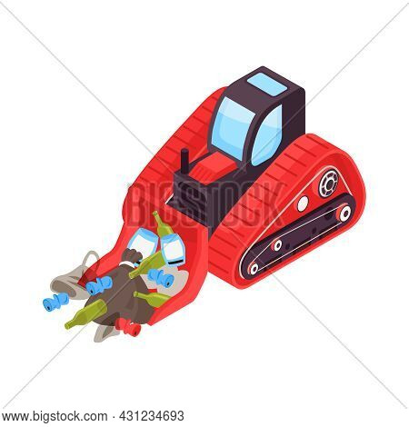 Isometric Icon With Red Bulldozer Cleaning Road From Garbage 3d Vector Illustration