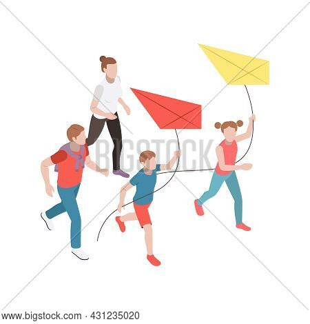 Family Leisure Activity Isometric Icon With Woman And Her Children Flying Kites Vector Illustration