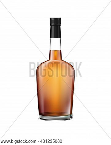 Realistic Glass Whisky Cognac Brandy Bottle With Screw Cap Vector Illustration