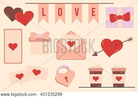 Set Of Elements For Valentines Day. Love Vector Illustration. The 14th Of February. Drawings For A P