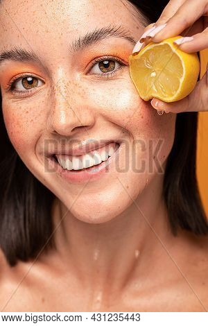 Joyful Woman With Natural Freckles On Face. Concept Of A Healthy Skin Care, Cosmetology.