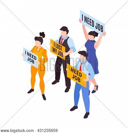 Isometric Financial Crisis Icon With Unemployed People Holding Posters 3d Vector Illustration