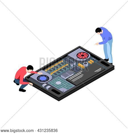 Repair Service Workers Fixing Computer Hardware Isometric Icon Vector Illustration