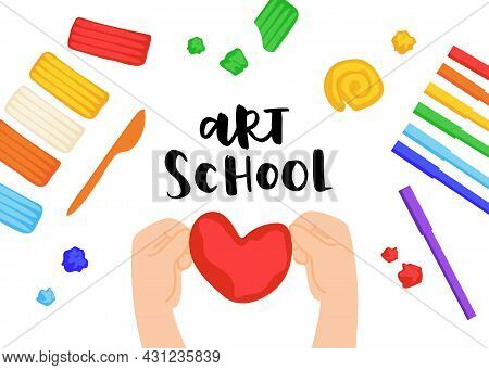 Kid Sculpts Sun, Rainbow And Cloud With Plasticine, Modelling Clay Tools, Board And Knife, Art Proce