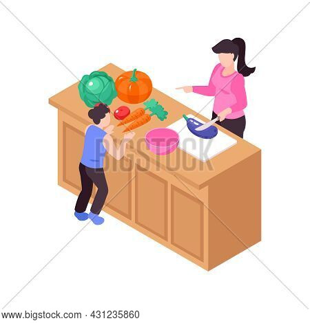 Isometric Icon With Child And His Mum Cooking On Kitchen Table 3d Vector Illustration