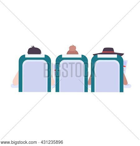 Plane Passengers On Their Seats Reading Briefing Cards Back View Flat Vector Illustration